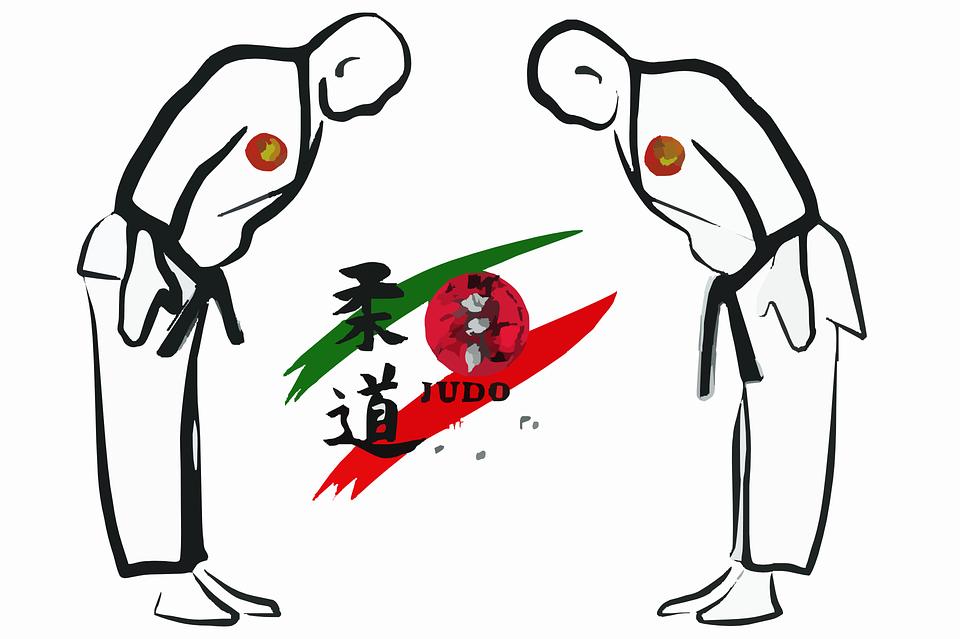 рисунок двух дзюдоистов, которые делают поклон друг другу