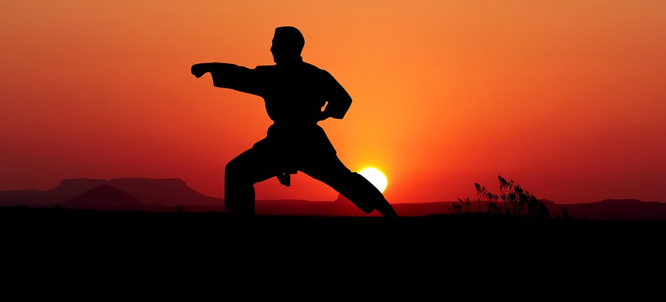 человек на фоне заката выполняет удар кулаком
