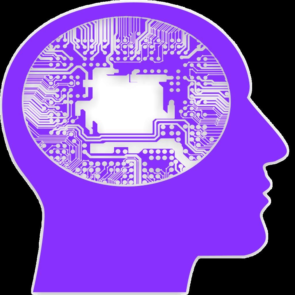 изображение фиолетовой головы с микросхемой внутри