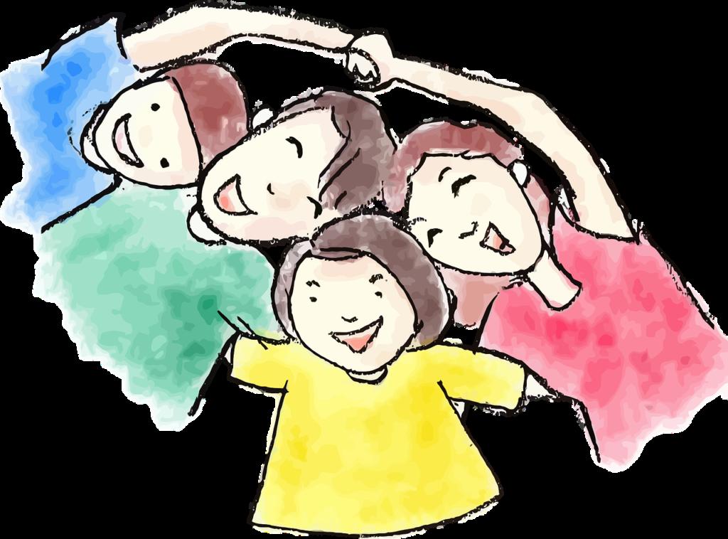 семья: мама, папа, сын и дочь