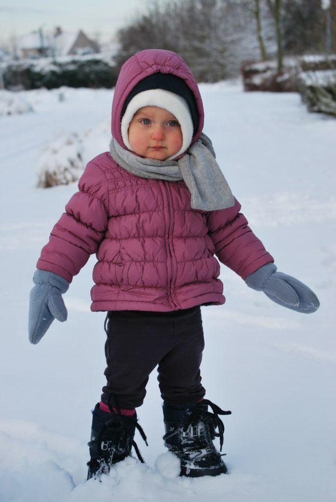 девочка в теплой одежде на фоне снега
