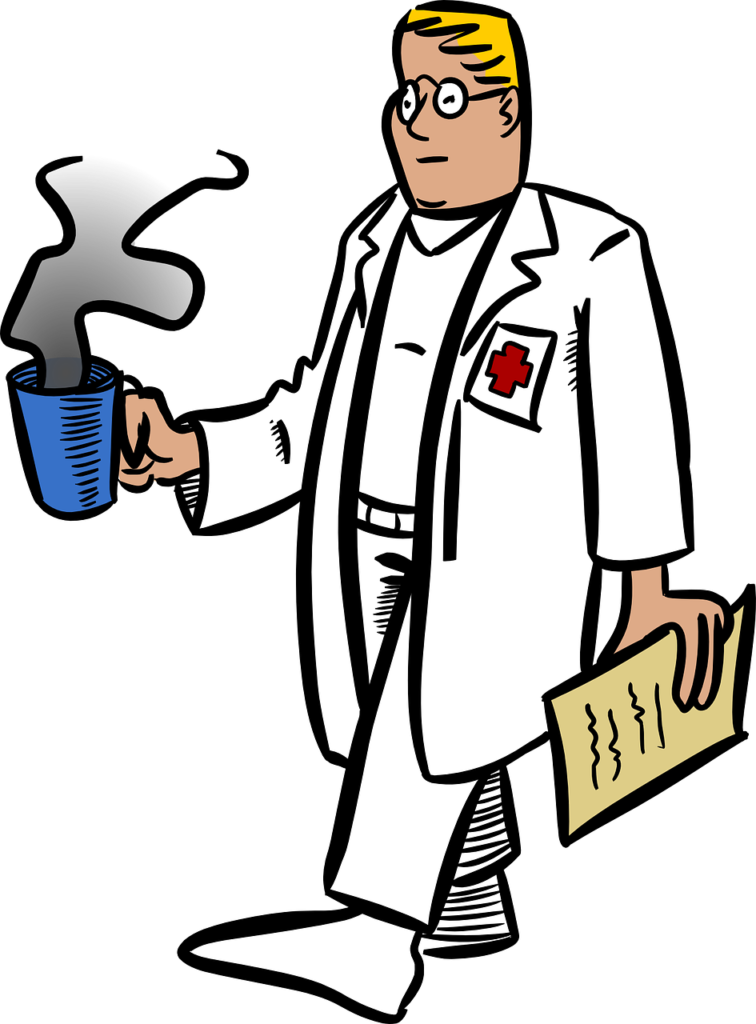 врач педиатр идёт с чашкой кофе