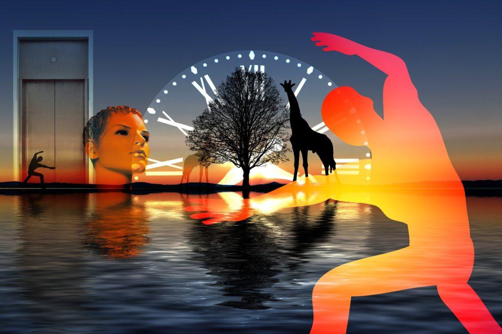 изображение озера, дерева, жирафа, человека на фоне часов