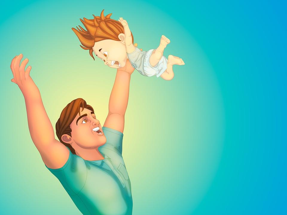 мужчина подбрасывает маленького ребенка