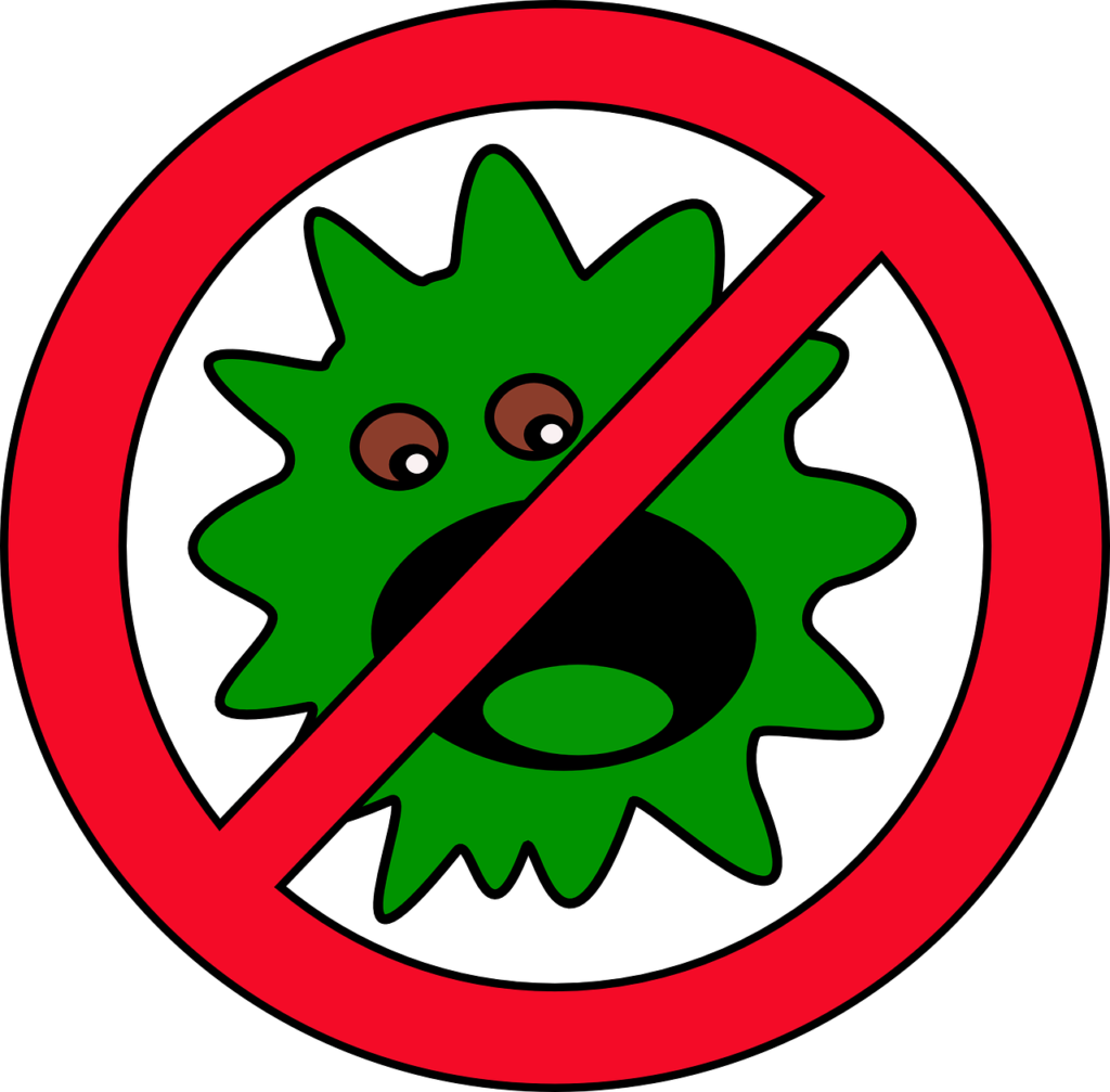 бактерия перечеркнута знаком стоп