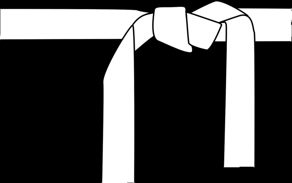 белый пояс, завязанный в узел