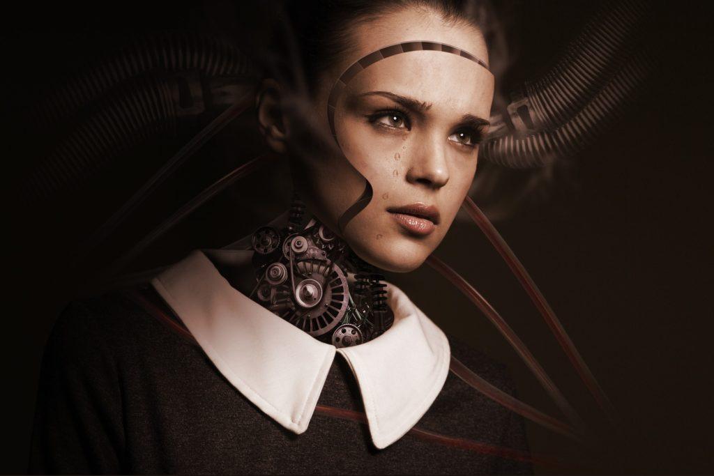 девочка, состоящая из шестерней (робот с человеческим лицом)