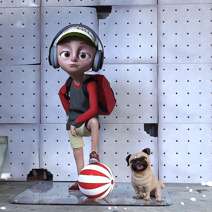 мальчик с рюкзаком и в наушниках с уставшим лицом стоит, поставив ногу на мяч,, а рядом сидит собака