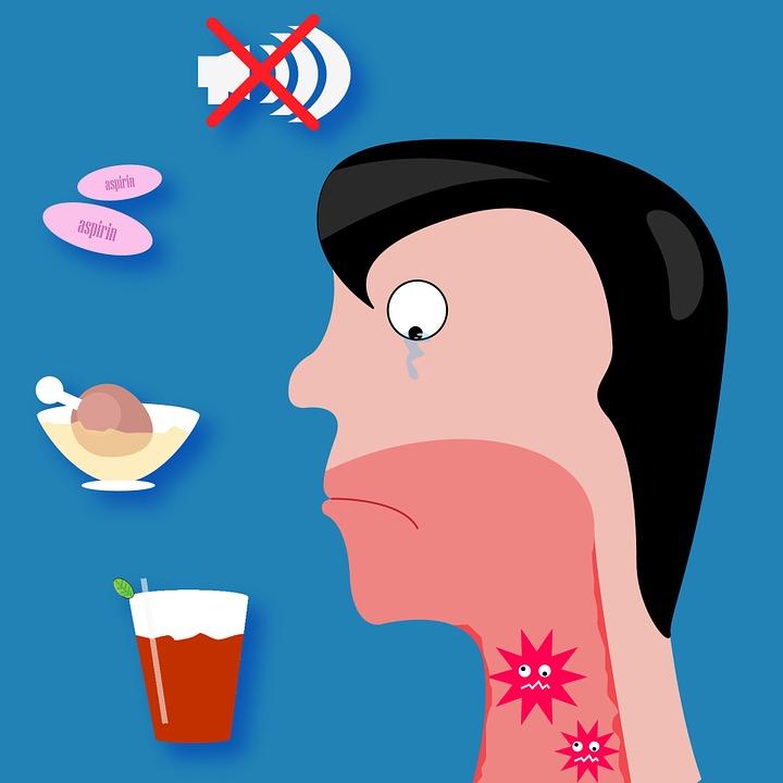 картинка молодого человека у которого болит горло, в горле бактерии, парагрипп у детей