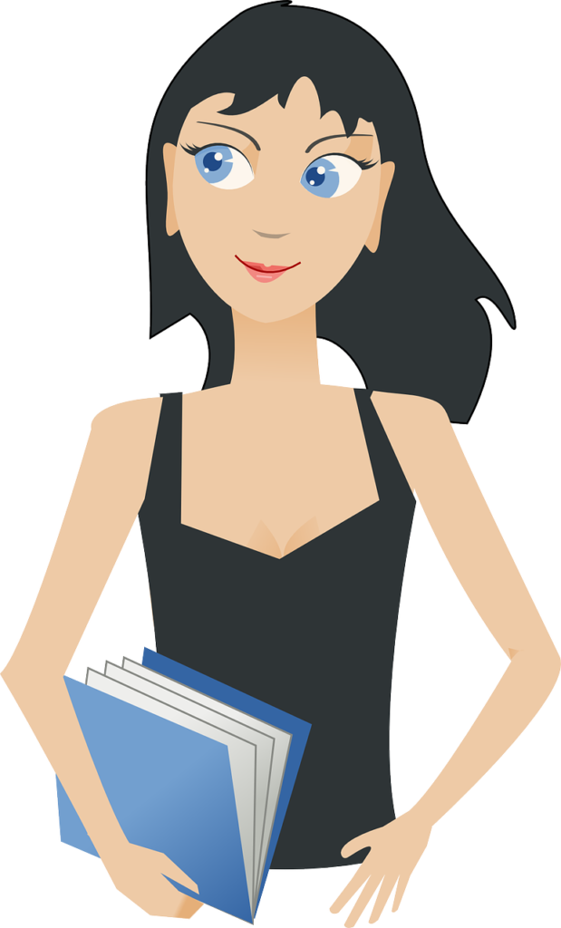 девушка с синей книгой в руках