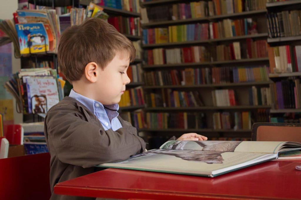мальчик сидит в библиотеке и листает большую книгу с большими иллюстрациями