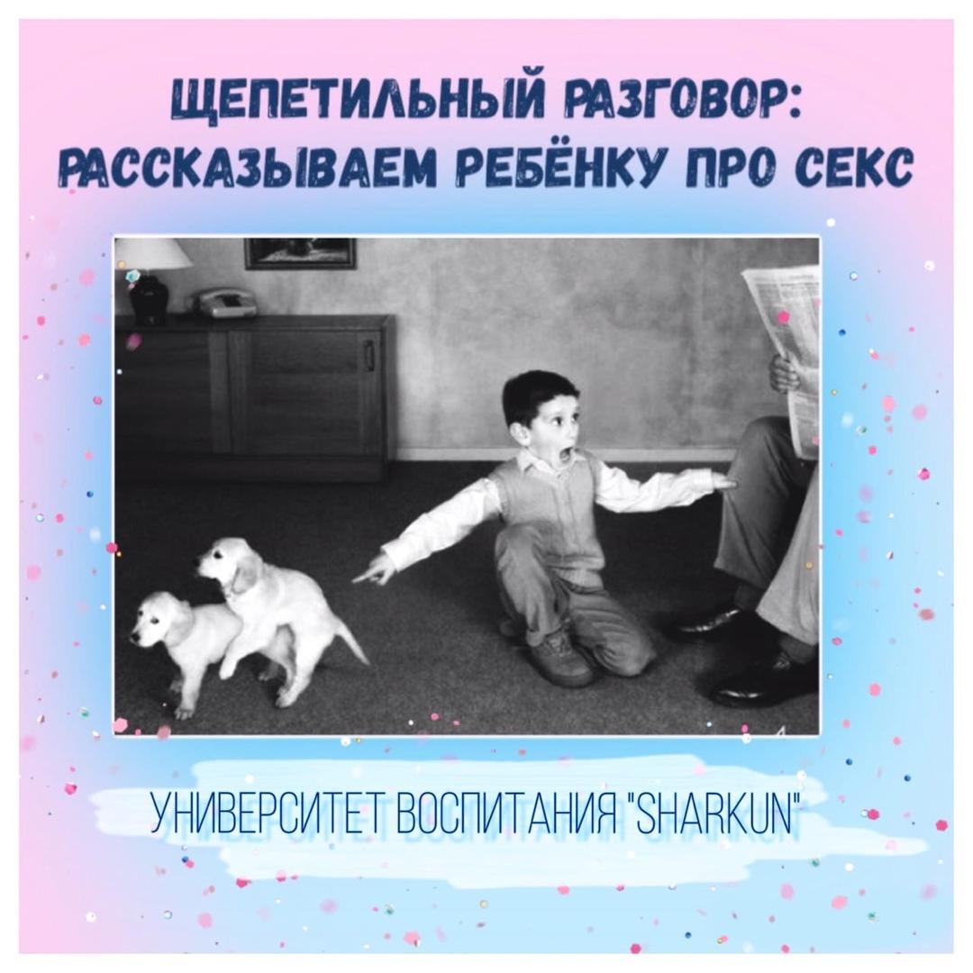 Мальчик, показывая на спаривающихся собак смотрит вопросительным взглядом на отца